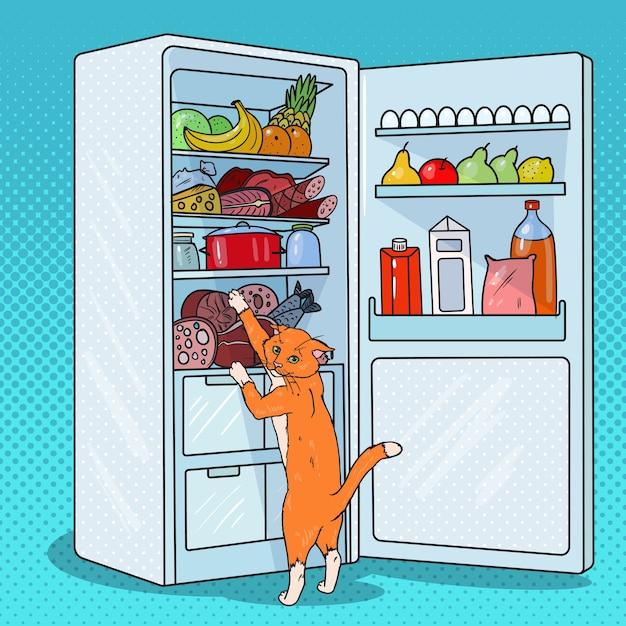 Pop art cat ruba il cibo dal frigorifero. animale domestico affamato in frigorifero. Vettore Premium