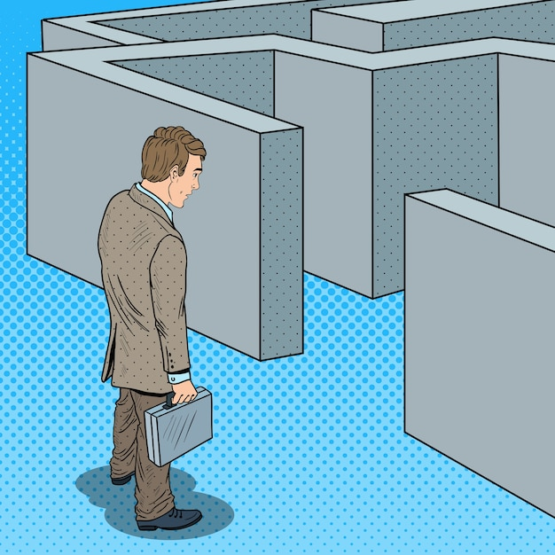 Pop art uomo d'affari dubbioso con valigetta in piedi davanti al labirinto. Vettore Premium