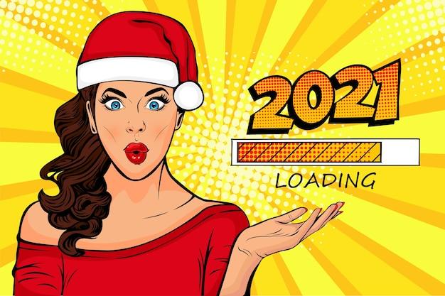 Ragazza di pop art che esamina il processo di caricamento aspettando il nuovo anno Vettore Premium