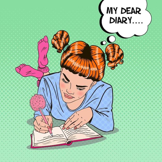 Ragazza di pop art in calzini rosa scrivendo nel diario Vettore Premium