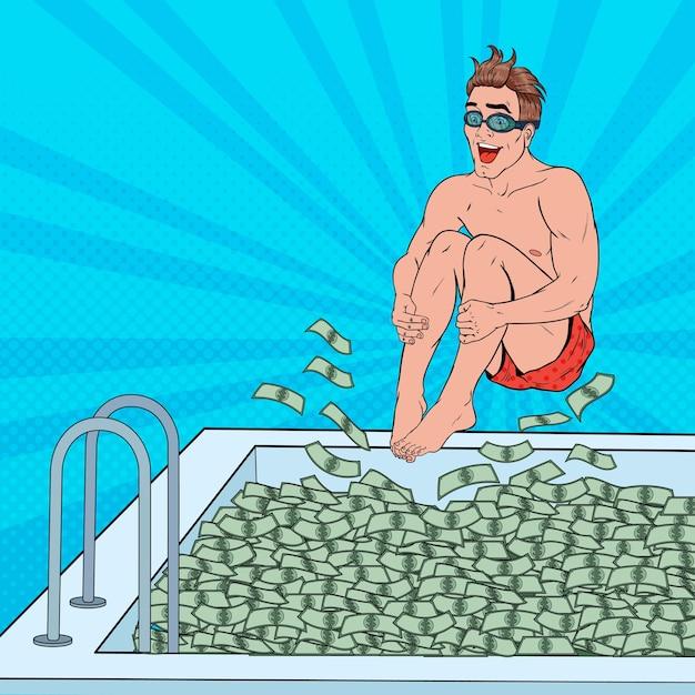 Uomo felice di pop art che salta alla piscina di soldi. uomo d'affari di successo. successo finanziario, concetto di ricchezza. Vettore Premium