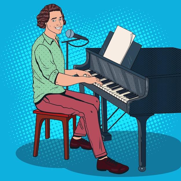 Musicista di pop art che suona il pianoforte e canta nel microfono. cantante maschio. Vettore Premium
