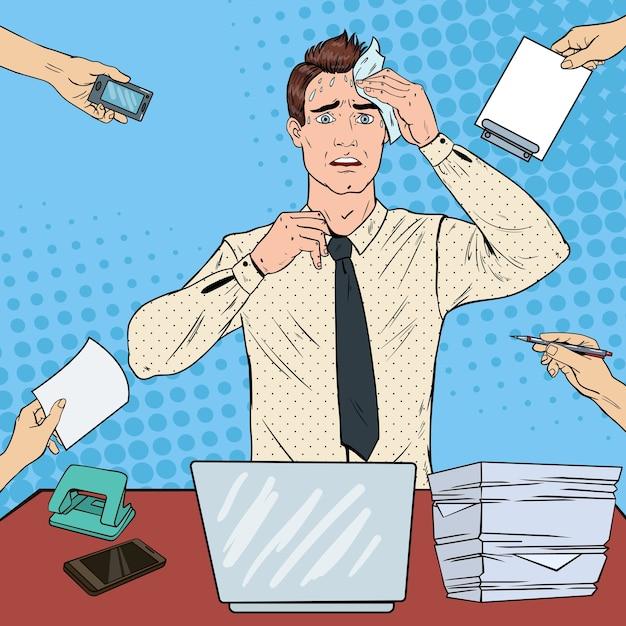 Pop art nervoso uomo d'affari. impiegato di ufficio multitasking sollecitato. Vettore Premium
