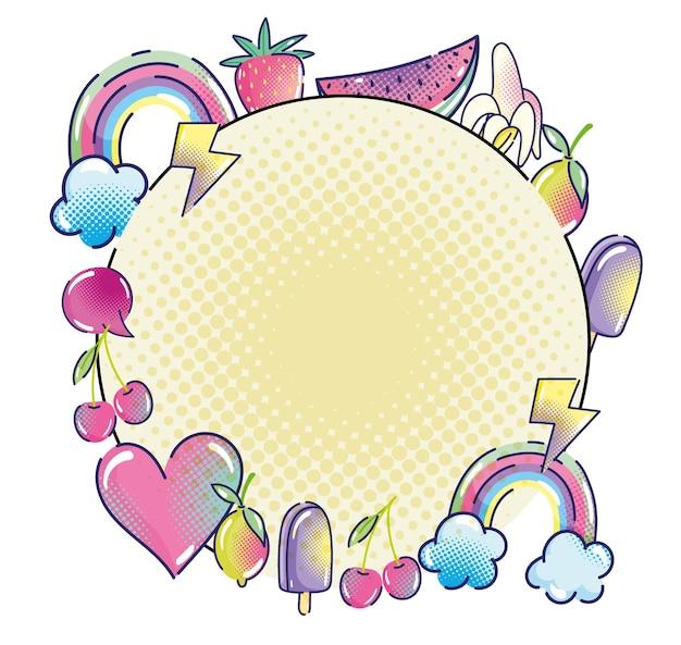 Pop art arcobaleno frutta cuore gelato discorso bolla etichetta mezzitoni illustrazione Vettore Premium