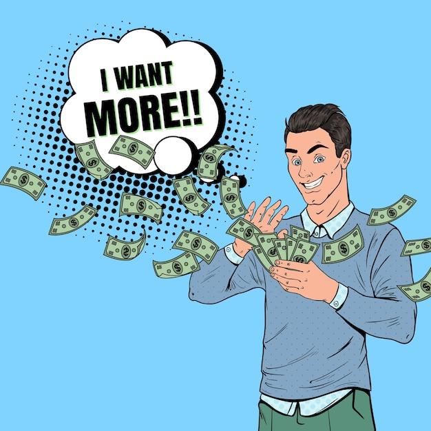 Pop art rich man gettando banconote in dollari. imprenditore di successo con i soldi. Vettore Premium
