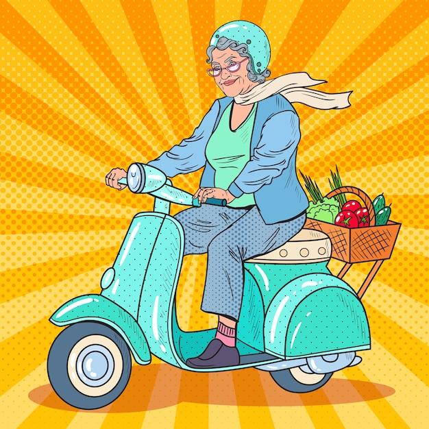Pop art senior woman riding scooter Vettore Premium