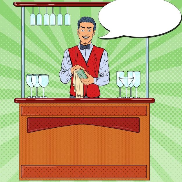 Barista sorridente di pop art che pulisce il vetro nel bar del locale notturno. Vettore Premium