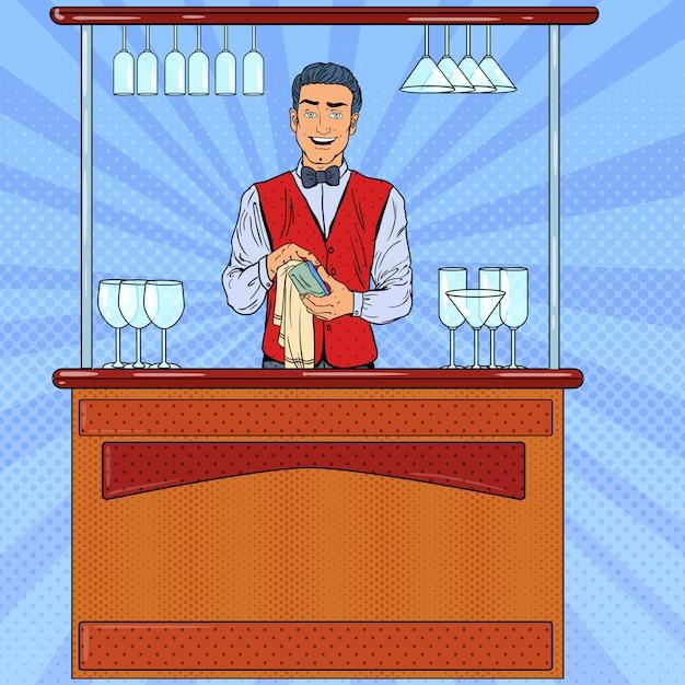 Pop art sorridente barista che pulisce il vetro al bar. Vettore Premium