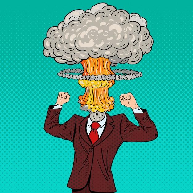 Pop art ha sottolineato l'uomo d'affari con la testa di esplosione. Vettore Premium