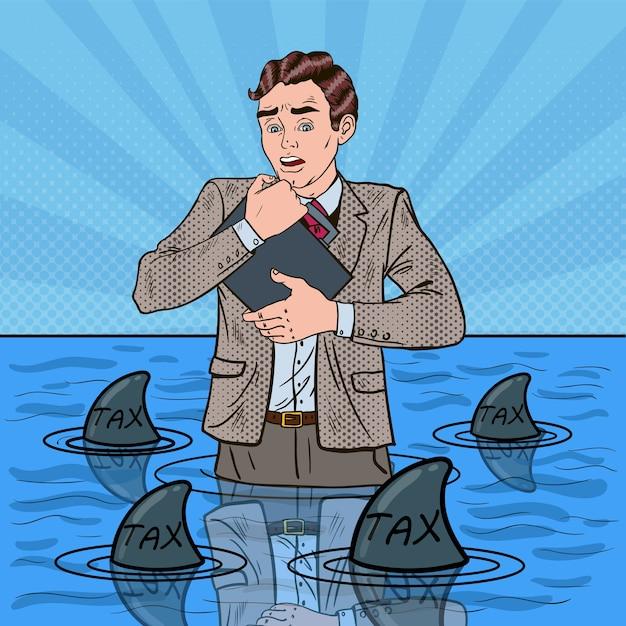 Pop art preoccupato uomo d'affari impotente nuotare con gli squali. Vettore Premium