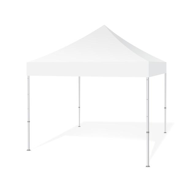 Tenda all'aperto della tenda foranea del baldacchino di pop-up isolata su fondo bianco. attrezzature per fiere. illustrazione Vettore Premium