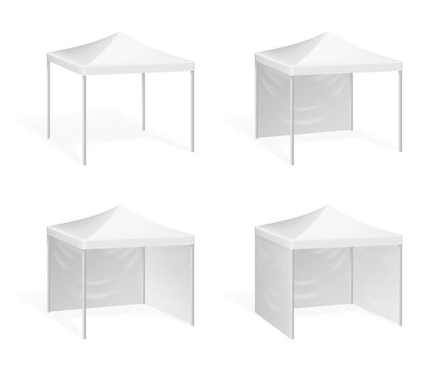 Tenda pop up per eventi all'aperto. tettoia da sole, illustrazione pensilina per padiglione commerciale Vettore Premium
