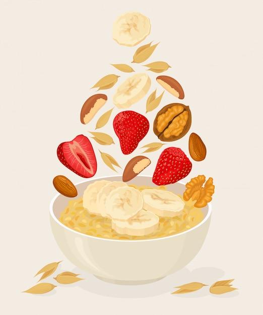 Porridge di avena in una ciotola con banane, bacche, fragole, noci e cereali isolati su sfondo bianco. colazione salutare Vettore Premium