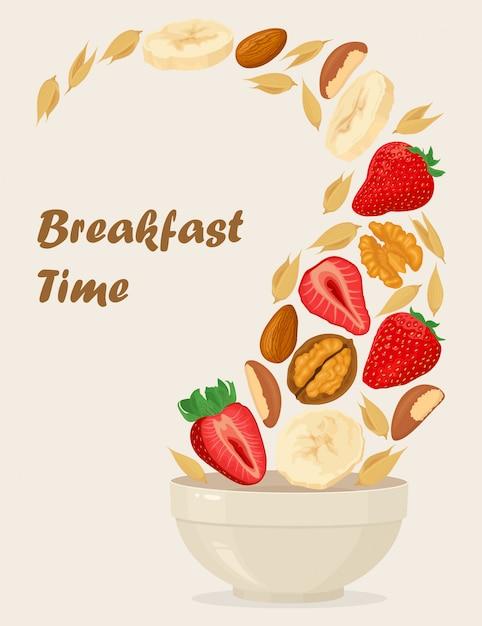 Porridge avena in una ciotola con banane, frutti di bosco, fragole, noci e cereali isolati Vettore Premium