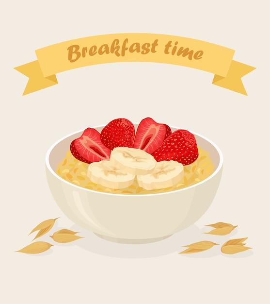 Porridge di avena in una ciotola con banane, bacche, fragole, noci e cereali su sfondo bianco. colazione salutare Vettore Premium
