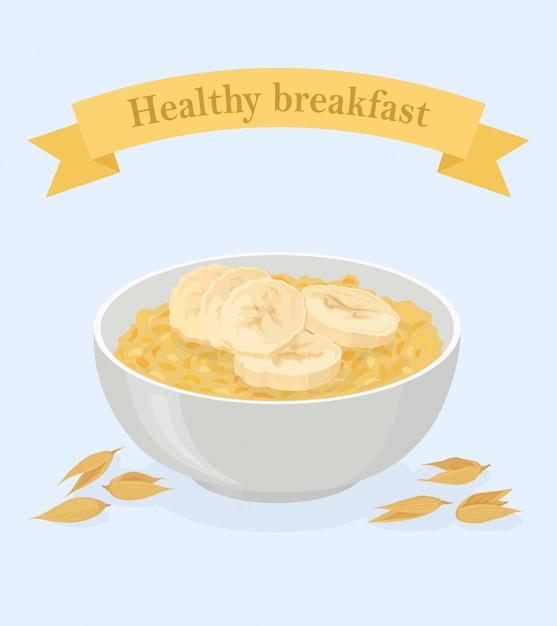 Porridge avena in una ciotola con banane e cereali Vettore Premium