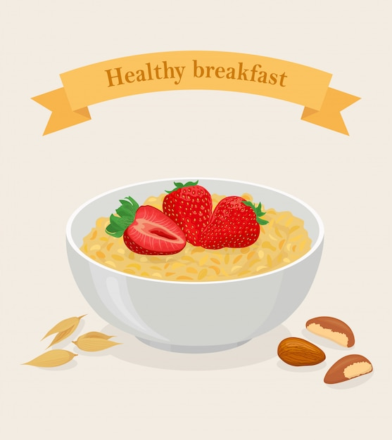 Porridge di avena in una ciotola con fragole, frutti di bosco, noci e cereali isolati su sfondo bianco. colazione salutare Vettore Premium