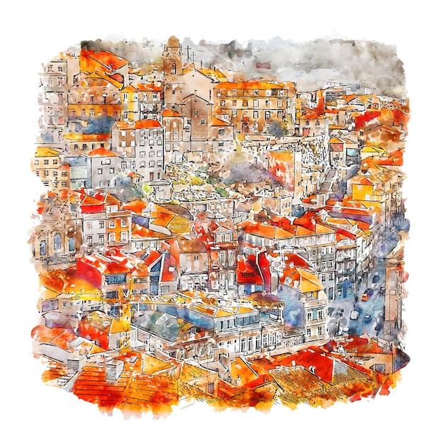Illustrazione disegnata a mano di schizzo dell'acquerello di porto portogallo Vettore Premium