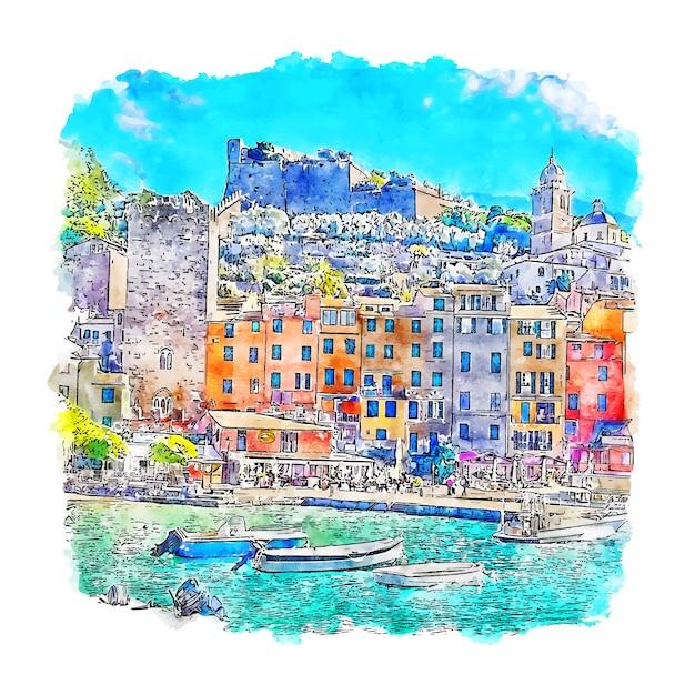 Illustrazione disegnata a mano di schizzo dell'acquerello di portovenere italia Vettore Premium