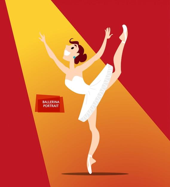 Ritratto di signora ballerina in uniforme. stile. Vettore Premium