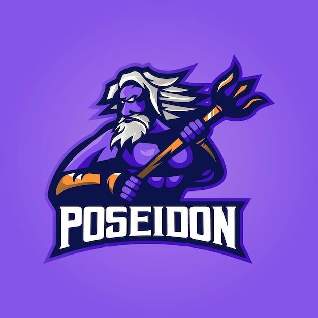 Poseidon mascotte logo con il moderno concetto di illustrazione Vettore Premium