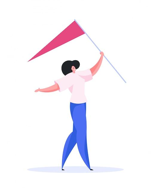Bandiera di trasporto femminile positiva alla posizione. illustrazione piatta Vettore Premium