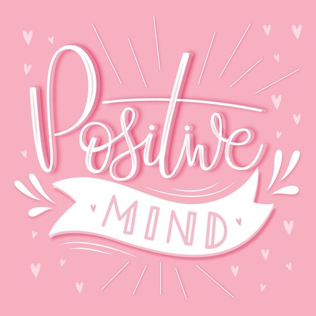 Lettering mentale positivo Vettore Premium
