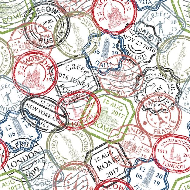 Modello di francobolli postali Vettore Premium