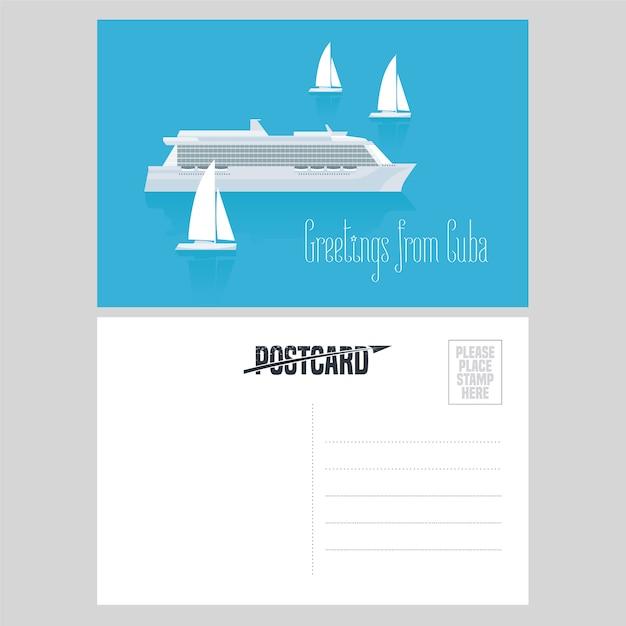 Cartolina da cuba e caraibi con illustrazione della nave da crociera Vettore Premium