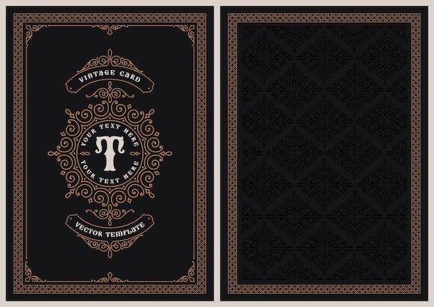 Un modello di cartolina in stile vintage, perfetto per cartoline di natale, inviti di nozze e molti altri usi. Vettore Premium