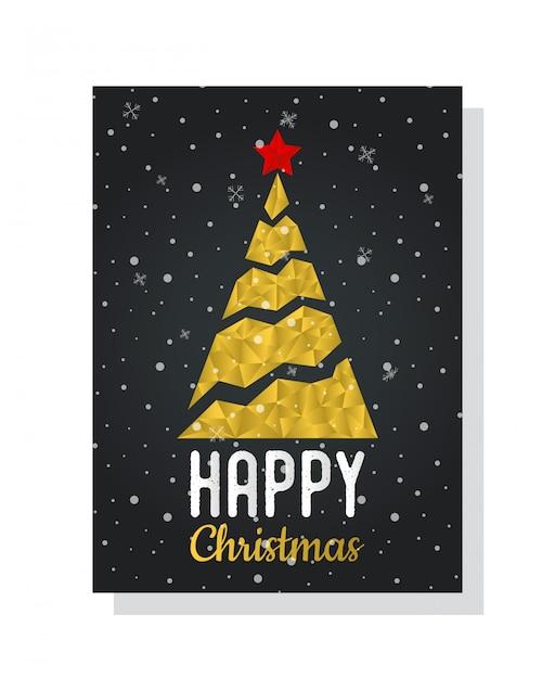 Cartolina con albero di natale in forma poligonale, glitch dorato Vettore Premium