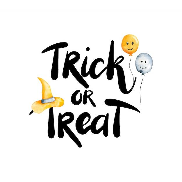 Cartolina con scritte dolcetto o scherzetto. illustrazione dell'acquerello di halloween isolato su priorità bassa bianca Vettore Premium