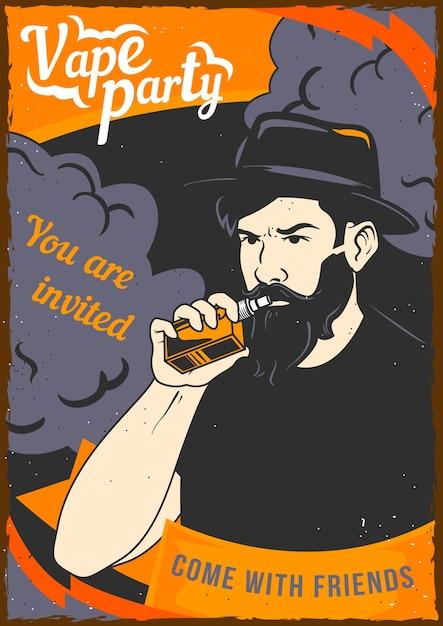 Design del poster con l'illustrazione di un uomo che tiene uno svapo in mano e una nuvola di vapore dietro la schiena. Vettore Premium