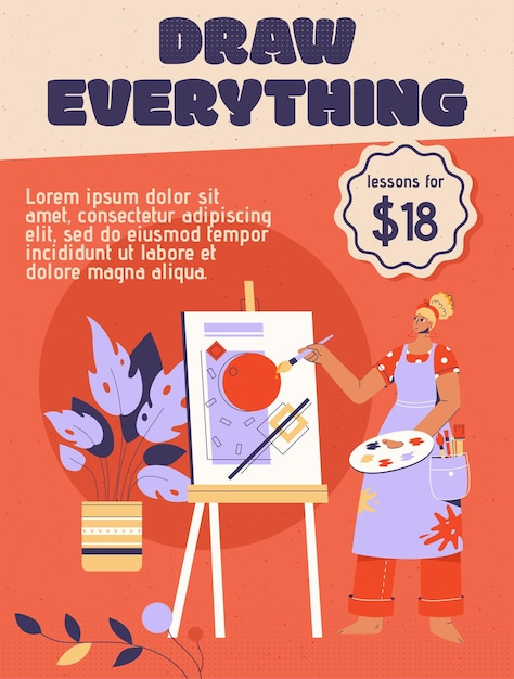 Poster di draw everything concept Vettore Premium