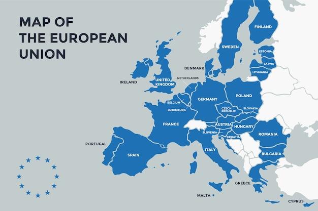 \ mappa dei poster dell'unione europea con i nomi dei paesi. stampa la mappa dell'ue per il web e la poligrafia, su temi commerciali, economici, politici e geografici. Vettore Premium