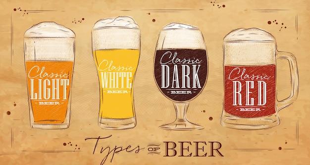 Poster tipi birra kraft Vettore Premium