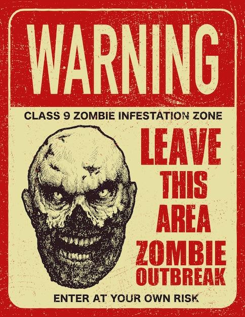 Cartello segnaletico scoppio zombi Vettore Premium