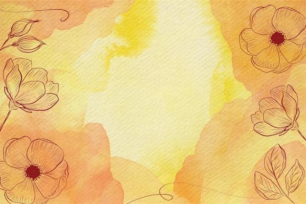 Priorità bassa dell'acquerello di fiori pastello in polvere Vettore Premium