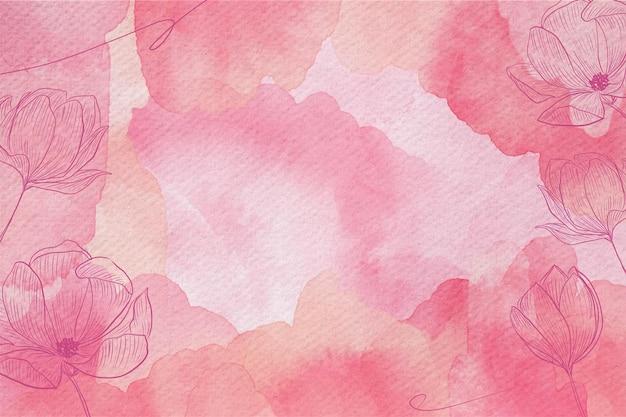 Pastello in polvere con fiori disegnati a mano Vettore Premium