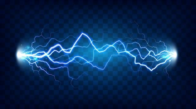 La scintilla del lampo di energia elettrica di potere o l'elettricità ha isolato l'illustrazione isolata realistica del blitz su fondo a quadretti Vettore Premium