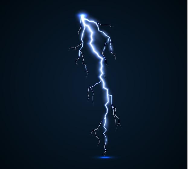 Il potere dei fulmini e delle scariche elettriche, i tuoni, la radiosità. bullone di tuono isolato. Vettore Premium
