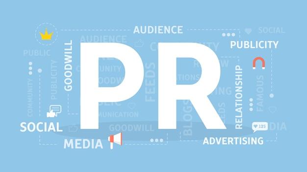 Illustrazione di concetto di pr. idea di notizie, media e intrattenimento. Vettore Premium