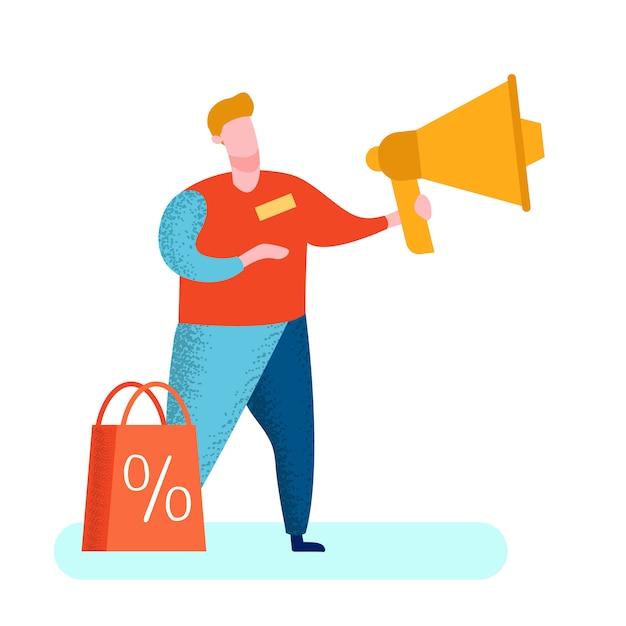 Marketer di pr con l'illustrazione del megafono Vettore Premium