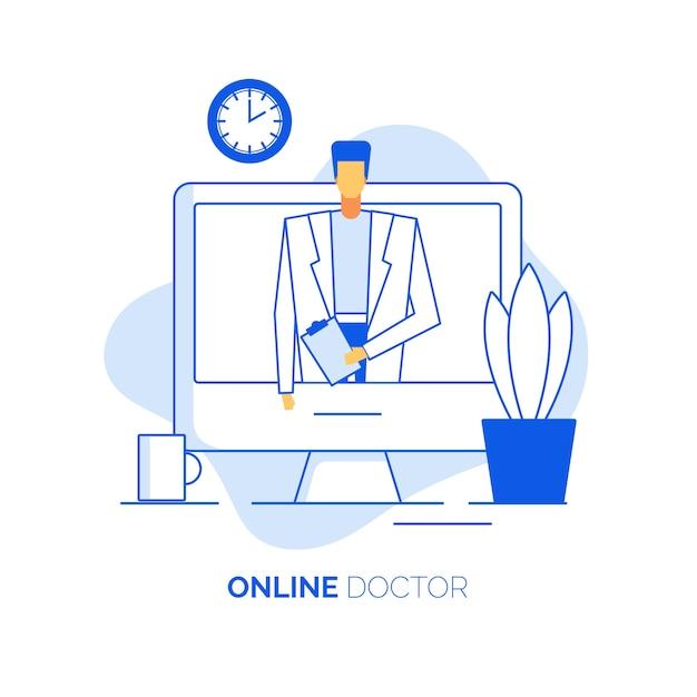 Il cardiologo professionista offre consulenza online Vettore Premium