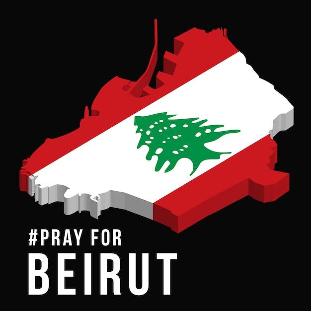 Pregare per l'illustrazione di beirut con la mappa di beirut su sfondo nero concetto di preghiera, lutto, umanità per beirut libano massiccia esplosione Vettore Premium