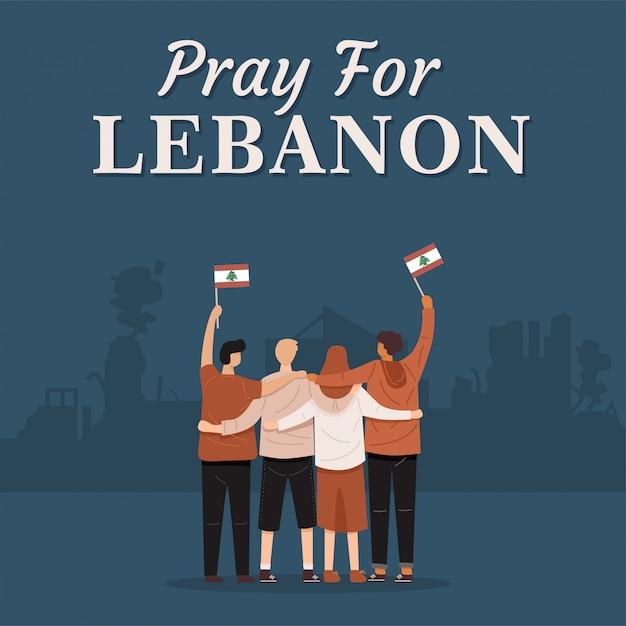 Pregate per il libano banner. vista posteriore di persone che abbracciano insieme e che tengono la bandiera del libano, vettore Vettore Premium