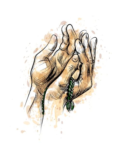 Pregando le mani con il rosario, fondo di vettore di schizzo disegnato a mano. Vettore Premium