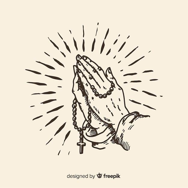 Mani in preghiera Vettore Premium