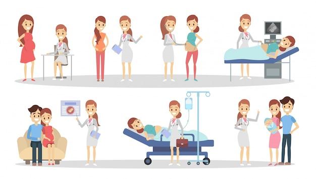 Gravidanza in clinica. dalla radiografia al neonato. Vettore Premium