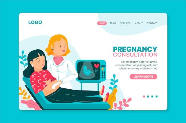 Consulto di gravidanza - pagina di destinazione Vettore Premium